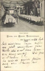 Ak Bad Pyrmont in Niedersachsen, Hotel zur Krone, Speisesaal