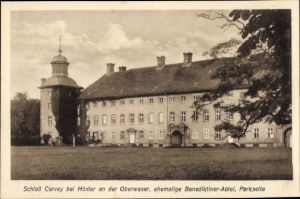 Ak Höxter in Nordrhein Westfalen, Schloss Corvey, ehemalige Benediktiner Abtei, Parkseite