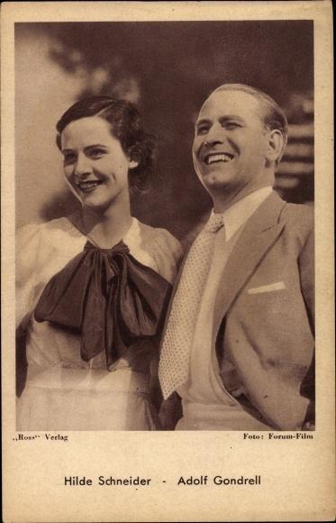 Ak Schauspieler Hilde Schneider und Adolf Gondrell, Portrait