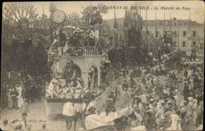 Ak Nice Nizza Alpes Maritimes, Carnaval, Le Marché de Nice, Festwagen
