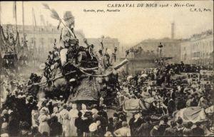 Ak Nice Nizza Alpes Maritimes, Carnaval 1908, Nice Coni, geschmückter Festwagen