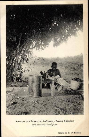 Ak Französisch Kongo, Une couturière indigène, Missions des Pères du St Esprit