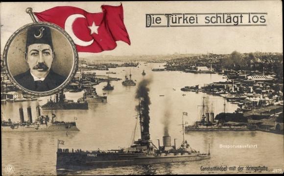 Ak Die Türkei schlägt los, Mehmed V., Türkische Kriegsschiffe, Konstantinopel Istanbul Türkei