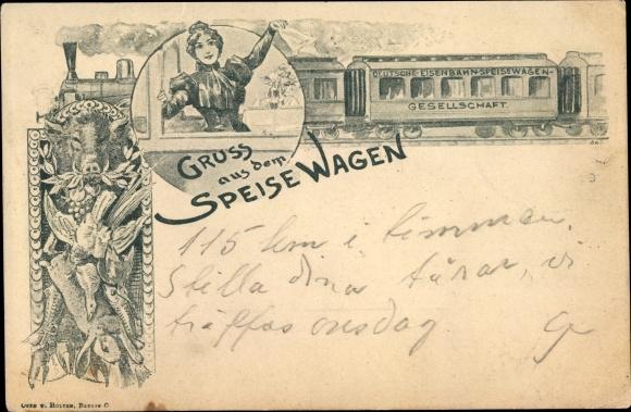 Künstler Ak Deutsche Eisenbahn, Dampflokomotive, Gruß aus dem Speisewagen