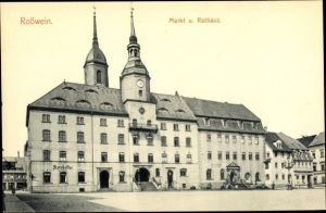 Ak Roßwein in Sachsen, Markt, Rathaus, Ratskeller, Klosterkeller