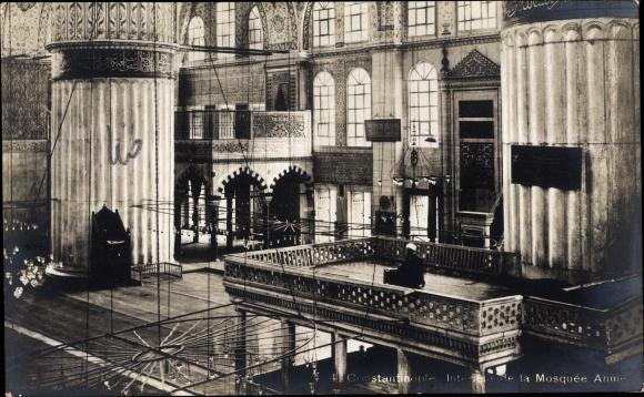 Ak Konstantinopel Istanbul Türkei, Intérieur de la Mosquée Ahmed