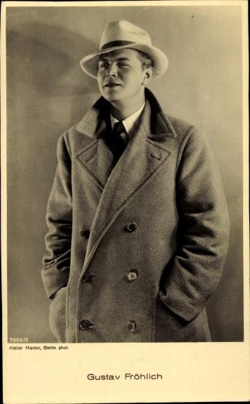 Ak Schauspieler Gustav Fröhlich, Portrait in Hut