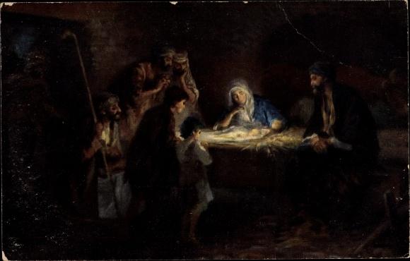 Künstler Ak Leinweber, R., Die Heilige Schrift, Serie VI, Bild 4, Die Hirten an der Krippe