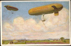Künstler Ak Continental Ballonstoff, Zeppeline, Werbung