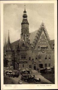 Ak Wrocław Breslau Schlesien, Rathaus, Ostseite