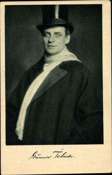Ak Schauspieler Gunnar Tolnæs, Portrait, Zylinder