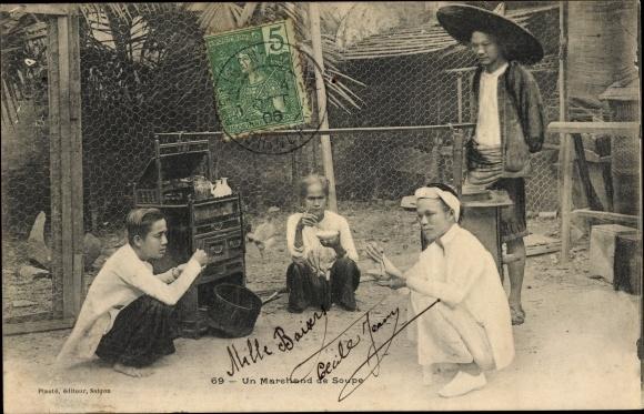 Ak Saigon Cochinchine Vietnam, Un Marchand de Soupe