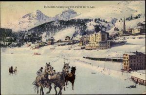 Ak St. Moritz Kt. Graubünden Schweiz, Courses au trot, Paires sur le Lac, Pferderennen auf Eis