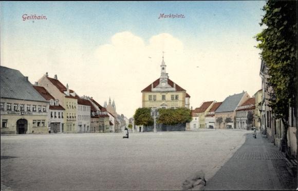 Ak Geithain in Sachsen, Marktplatz, Gasthof Goldner Löwe