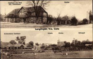 Ak Langlingen Niedersachsen, Gasthaus zur Post, Rittergut, Schule, Kirche
