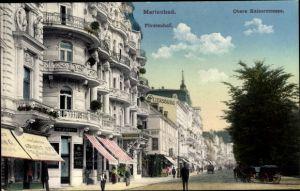 Ak Mariánské Lázně Marienbad Reg. Karlsbad, Fürstenhof, Obere Kaiserstraße, Pelzwarenladen