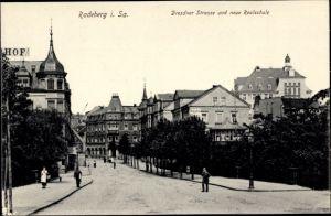 Ak Radeberg in Sachsen, Dresdner Straße u. neue Realschule