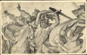Künstler Ak Apokalyptische Reiter, Tod, Waage, Krieg, Schwert, Pferde, Allegorie