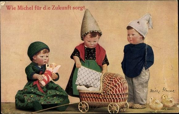Ak Käthe Kruse Puppen, Wie Michel für die Zukunft sorgt, Kinderwagen, Primus Nr 958
