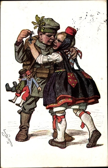 Künstler Ak Beithan, Emil, Hessen, Volkstracht, Soldat, Eisernes Kreuz, Puppen
