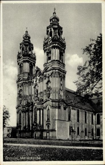 Ak Krzeszów Kamienna Góra Grüssau Schlesien, Marienkirche, Totalansicht