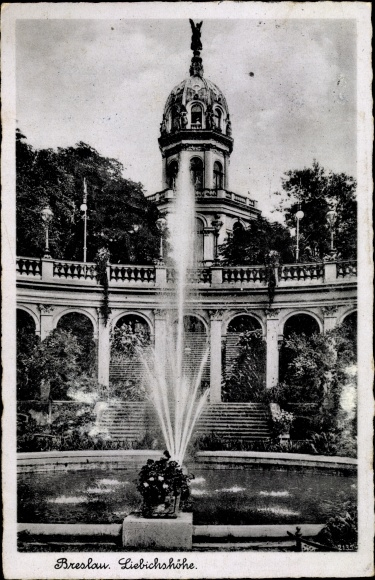 Ak Wrocław Breslau Schlesien, Bellevue Liebichshöhe, Springbrunnen, Teich, Treppenaufgang