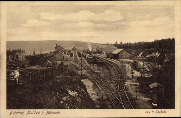 Ak Moldava Moldau Reg. Aussig, Bahnhof