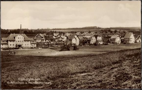 Ak Hildburghausen in Thüringen, Goldbachstraße u. Heimstättenweg, Panorama vom Ort