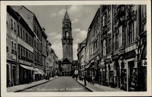 Ak Bautzen in der Lausitz, Reichenstraße, Reichentor, Geschäfte