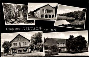 Ak Deutsch Evern in Niedersachsen, Schule, Geschäft, Gasthaus Böhlk