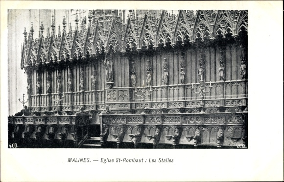 Ak Mechelen Malines Flandern Antwerpen, Eglise St. Rombaut, Les Stalles