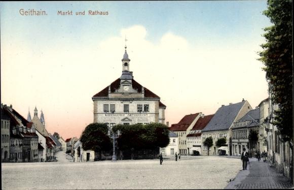 Ak Geithain in Sachsen, Markt, Rathaus, Amtsgericht