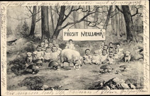 Ak Glückwunsch Neujahr, Schwein, Kleeblatt, Pilze, Kinder