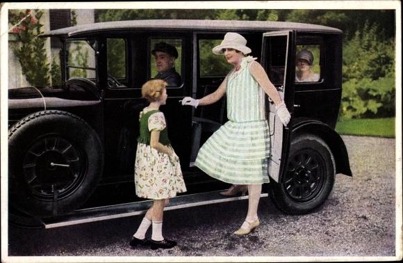 Ak Indanthren Färbemittel, Auto, Frau, Mädchen, Fahrer