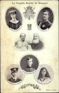 Ak La Famille Royale de Belgique, König Albert I., Königin Elisabeth Gabriele, Leopold II.