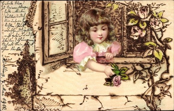 Litho Kitsch, Mädchen, Fenster, Blumen
