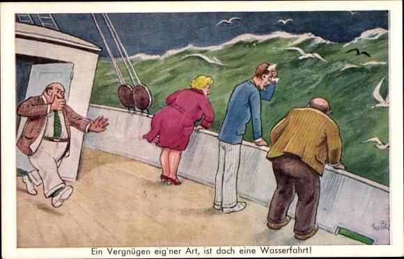 Künstler Ak Wasserfahrt, Seekranke Passagiere, Schiff