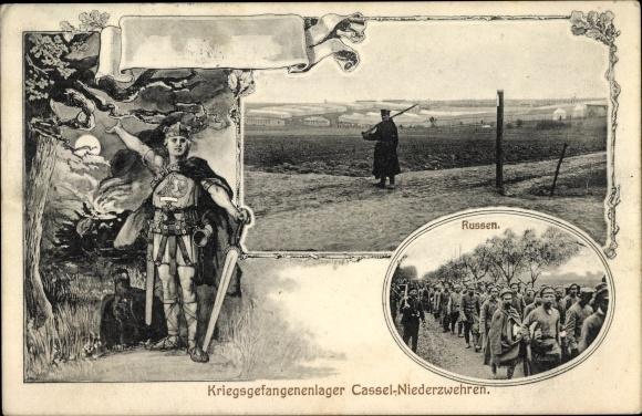 Ak Niederzwehren Kassel in Hessen, Kriegsgefangenenlager, Kriegsgefangene, Russen, I. WK