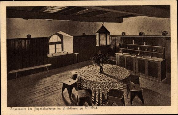 Ak Wittstock Dosse in der Ostprignitz, Jugendherberge, Tagesraum, Amtsturm