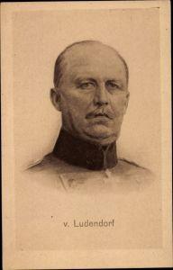 Künstler Ak General Erich Friedrich Wilhelm Ludendorff