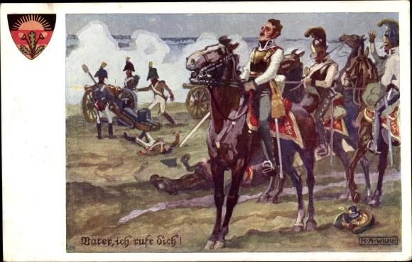 Künstler Ak Wilke, K. A., Vater ich rufe dich, Soldaten auf dem Schlachtfeld, Dt. Schulverein Nr. 51