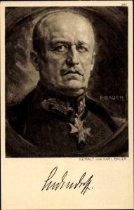 Künstler Ak Bauer, Karl, General Erich Friedrich Wilhelm Ludendorff, Portrait