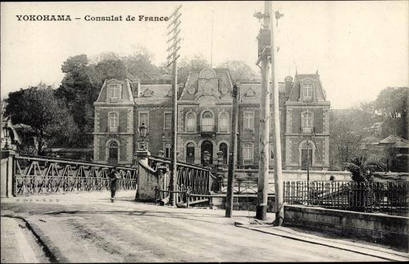 Ak Yokohama Präf. Kanagawa Japan, Consulat de France
