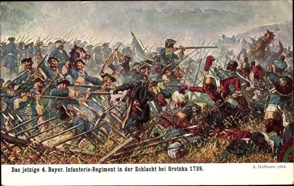 Künstler Ak Hoffmann, A., Schlacht bei Grotzka, Grocka 1739, 4. Bayer. Infanterie Regiment