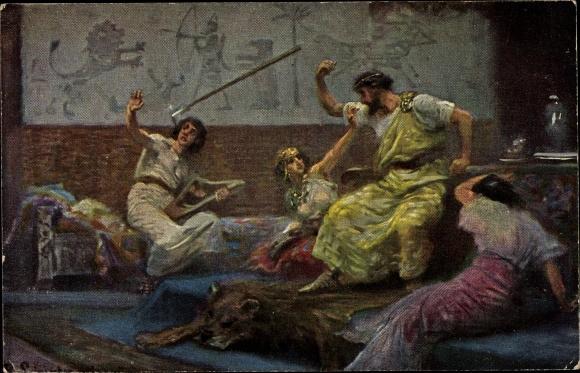 Künstler Ak Leinweber, R., Die Heilige Schrift, Serie IV, Bild 7, Saul wirft den Spieß nach David