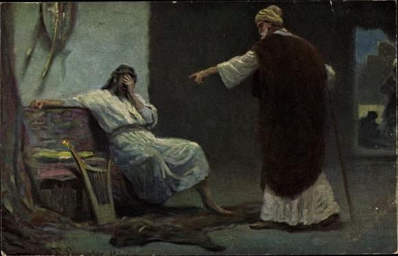 Künstler Ak Leinweber, R., Die Heilige Schrift, Serie IV, Bild 10, David und Nathan