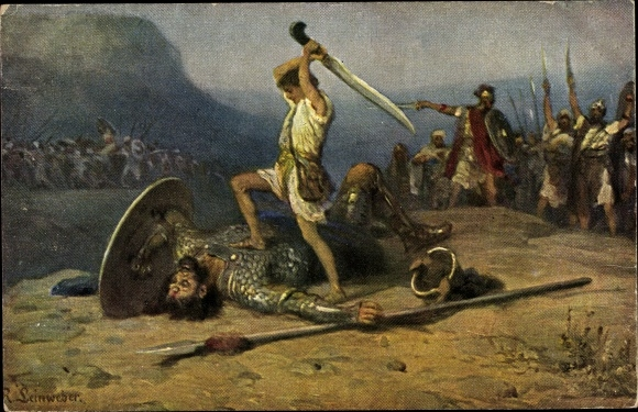 Künstler Ak Leinweber, R., Die Heilige Schrift, Serie IV, Bild 6, David und Goliath