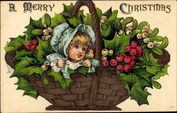 Präge Ak Frohe Weihnachten, Merry Christmas, Korb mit Stechpalmen, Mistel, Mädchenportrait