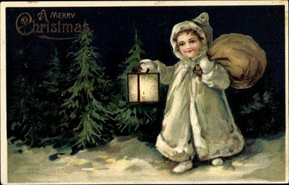Präge Ak Frohe Weihnachten, Merry Christmas, Tannenbäume, Kind, Laterne