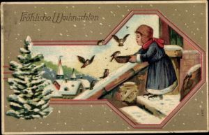 Präge Ak Frohe Weihnachten, Tannenbaum, Mädchen füttert Vögel